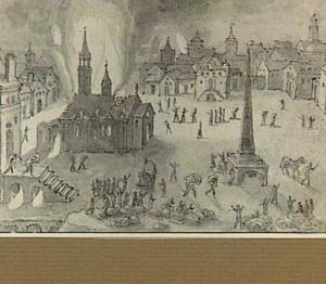 Stadsplein met brandende kerk (plundering?)