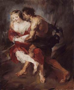 Een amoureuze omhelzing tussen een herder en een herderin