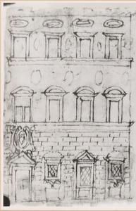 Ontwerp voor gevel van het Palazzo Pazzi dell' Accademia Colombaria,  Borgo degli Albizi te Florence