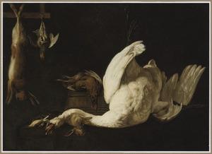 Jachtstilleven met een opgehangen zwaan, haas en patrijs, een fazant op een emmer en een een konijn met zangvogels op een stenen plint