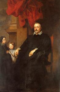 Portret van een Genuese nobelman met twee meisjes