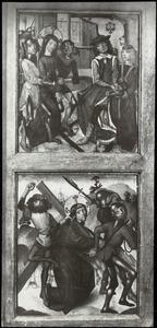 Pilatus wast zijn handen in onschuld, de kruisdraging (binnenzijde linkerluik); De kruisiging (middendeel); Christus in Limbo, de opstanding (binnenzijde rechterluik)
