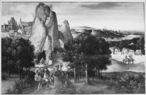 Legende van de leeuw van de H. Hieronymus en de gestolen ezel, die met een karavaan wordt meegevoerd; op de achtergrond de boetvaardige H. Hieronymus