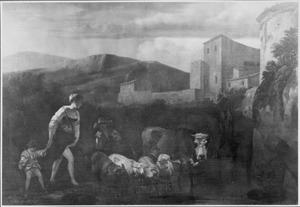 Herderin met kind en kudde vee bij een doorwaadbare plaats