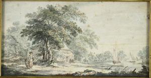Landschap met rivier en boerderij