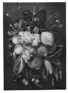 Festoen van een tros druiven, citroenen, perziken en andere vruchten