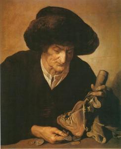 Geldtellende oude vrouw met stokbeurs