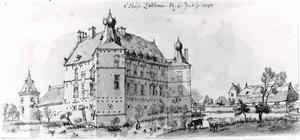 Huis Zelem (ook Selem, Selhem, Selm, Zelhem of Zelm) bij Kranenburg vanuit het zuiden
