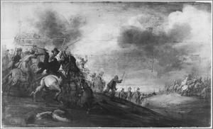Ruitergevecht in heuvellandschap