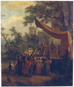 Een kwakzalver en zijn publiek buiten een stadsmuur