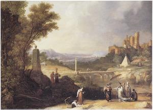 Zuidelijk landschap met Mozes gevonden door de dochter van de farao (Exodus 2:1-10)