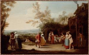Vrolijk gezelschap met een dansend paar voor een herberg