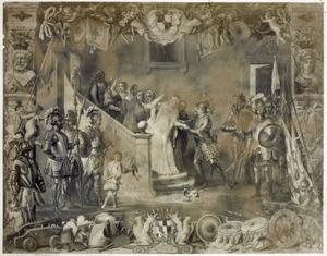 Don Antonio Moncada biedt koningin Bianca van Sicilië aan haar koninkrijk tegen de rebellen te verdedigen (1410), in een allegorische omlijsting