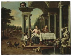 Een allegorie op de zomer: een elegant etend en drinkend paar op een klassiek bordes en een jongen die de oogst aanbiedt. Op de achtergrond boeren die de oogst binnen halen