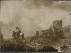Heuvellandschap; de barmhartige Samaritaan brengt de gewonde man naar de herberg (Lucas 10:25-37)