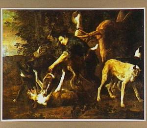Jager, die vechtende jachthonden scheidt