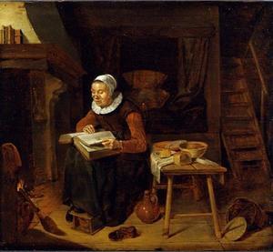 Interieur met lezende oude vrouw