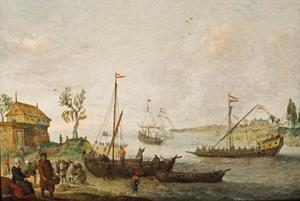 Riviermonding met fort, visserschip, Nederlands galei en koopvaardijschip