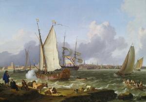 Hollandse schepen op de rede voor Emden