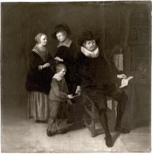 Portret van een man en drie kinderen
