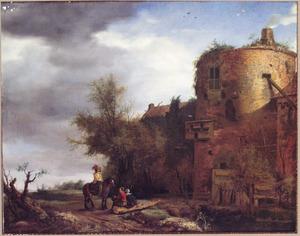 Ruiter in gesprek met twee rustende reizigers bij een vervallen kasteel