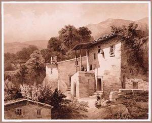 Gezicht op een Italiaans dorp met bergen op de achtergrond