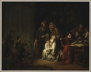 Simeon in de tempel, 'Nunc Dimittis' zingend