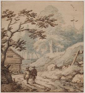 Noors landschap met twee wandelaars en een hut
