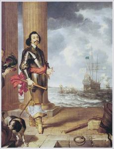 Portret van een onbekende Portugese admiraal, met enige oorlogsschepen in de achtergrond