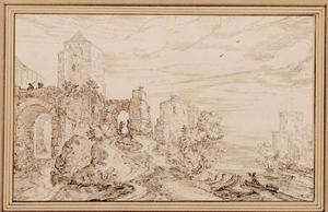 Gezicht op ruïnes bij een rivier
