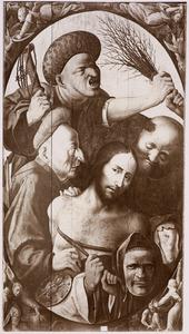 Geseling van Christus, in de hoeken grisailles met engelen in gevecht met demonen