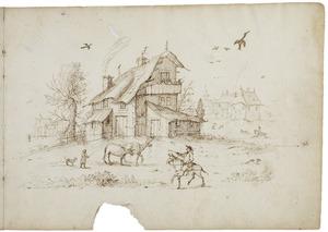 Dorpsgezicht met boerderij en figuren