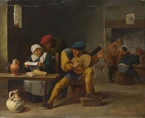 Musicerende boeren in een herberg