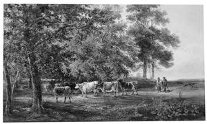 Twee figuren met vee in een bosachtig landschap