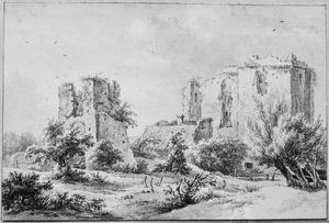 De ruïne van kasteel Brederode vanuit het noordoosten
