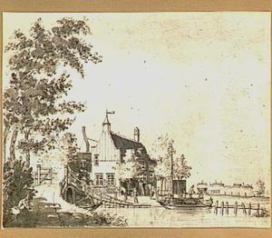 Herberg De Voetangel bij de samenvloeiïng van de Waver (links), de Holendrecht (voorgrond) en de Bullewijk (rechts) in Ouder-Amstel, bij Amsterdam