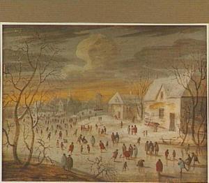 Wintertafereel met figuren op het ijs