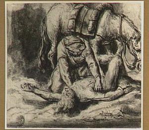 De barmhartige Samaritaan verzorgt de gewonde reiziger (Lucas 10:34)