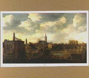 Gezicht op Delft na de ontploffing van het kruithuis op 12 oktober 1654