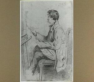 Portret van de schilder Anton Mauve aan het werk