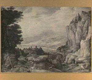 Berglandschap met reizigers en jager