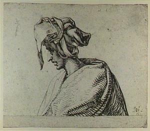 Studie van een jongeman met draperie-hoofddeksel