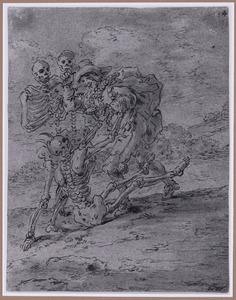 Quevedo iin gevecht met het skelet van Don Diego Moreno (Suenos 1641, boek II, vierde droom)