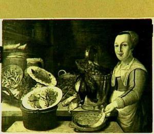 Keukenstuk met groente, krab, gevogelte en een moot vis