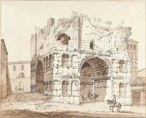 Rome, Boog van Janus, met daarachter de kerk van San Giorgio in Velabro