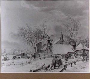 Winterlandschap met boerderijen en figuren met duwslee