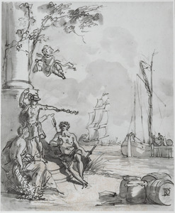 Ontwerp voor een schoorsteenstuk met een allegorie op de Handel en Scheepvaart