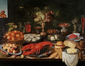 Stilleven met kreeft, oesters, fruit, kaas en een papegaai