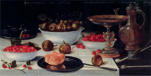 Vruchtenstilleven met eet- en drinkgerei en rookattributen
