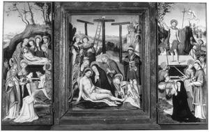 De graflegging met een stichtster en de HH. Augustinus en Agnes (links), de bewening met in de achtergrond Christus bevrijdt de zielen uit het voorgeborchte (midden), de opstanding met een stichtster en de HH. Stefanus en Catharina (rechts)